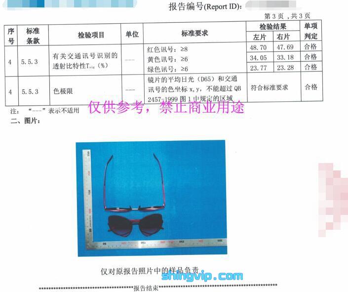 太阳眼镜检测报告图二