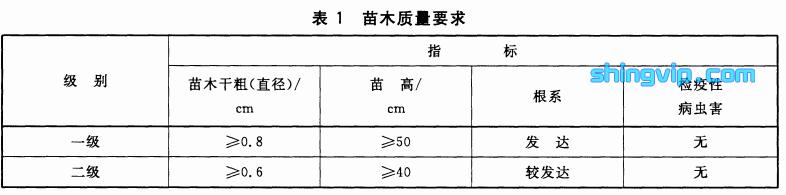 表1苗木质量要求