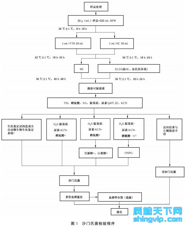 图1 沙门氏菌检验程序