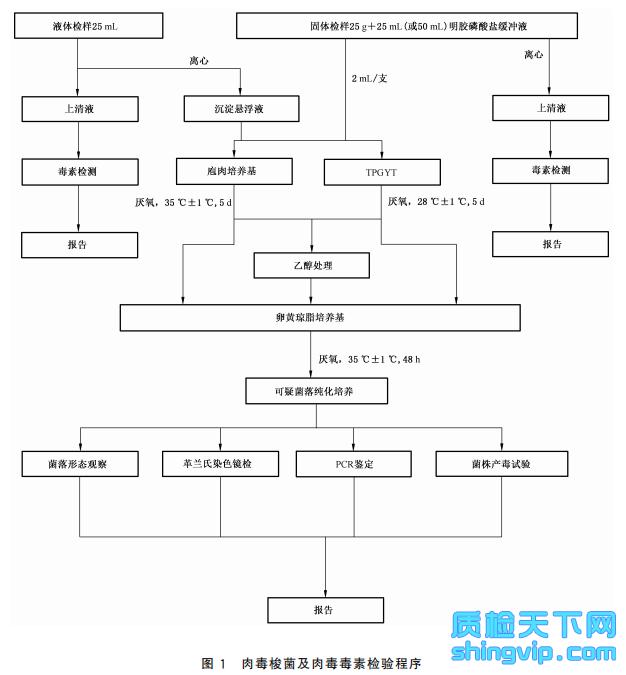 图1 肉毒梭菌及肉毒毒素检验程序