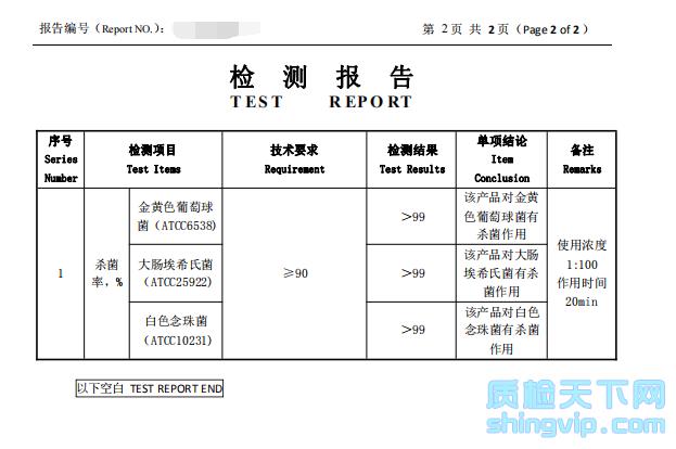 抗菌清洗剂检测报告03